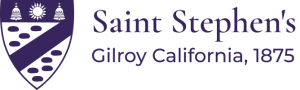 the seal of Saint Stephen's Church Gilroy, CA in purple